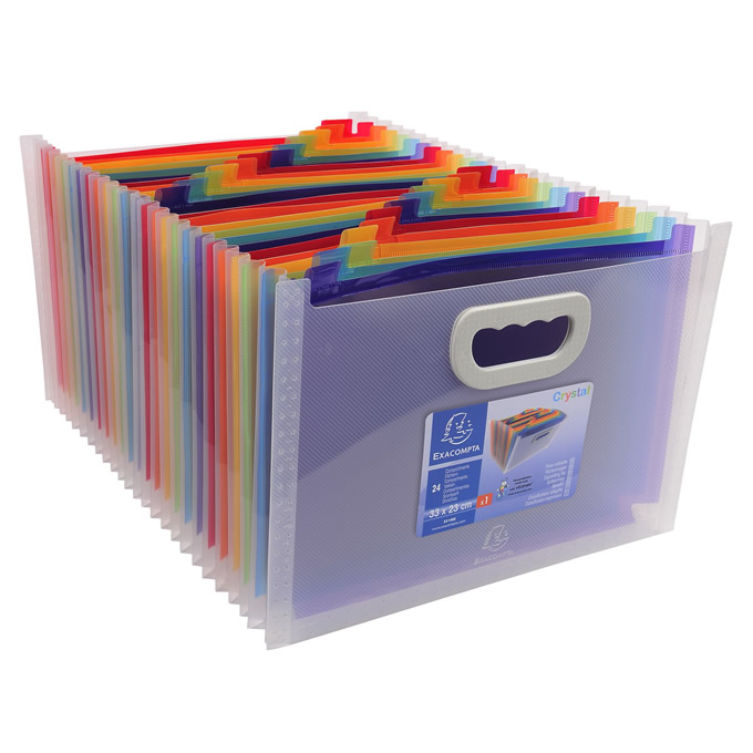 Crystal Accordion 24-Pocket File Box